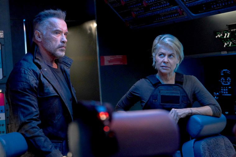 "Arnold Schwarzenegger and Linda Hamilton star in ""Terminator: Dark Fate."""