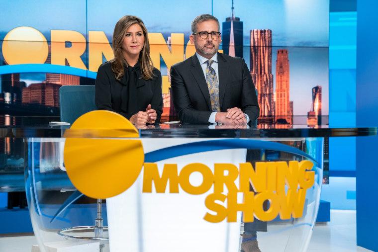 "Jennifer Aniston and Steve Carell in ""The Morning Show,"" premiering Nov. 1 on Apple TV+."