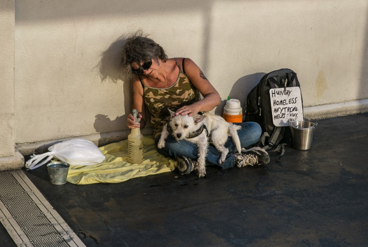 A homeless woman and her dog sit on a pedestrian bridge in the sun as temperatures reached 115 degrees Fahrenheit on July 13, 2017 in Las Vegas.