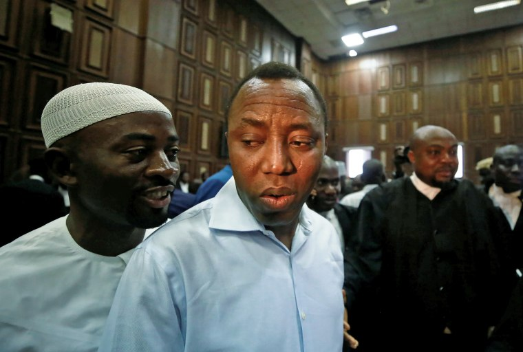 Omoyele Sowore arrives at the Federal High Court in Abuja, Nigeria, on Sept. 30, 2019.