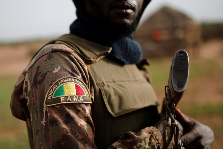 Image: A Malian Armed Forces (FAMa) patch worn by a soldier is pictured during the Operation Barkhane in Ndaki