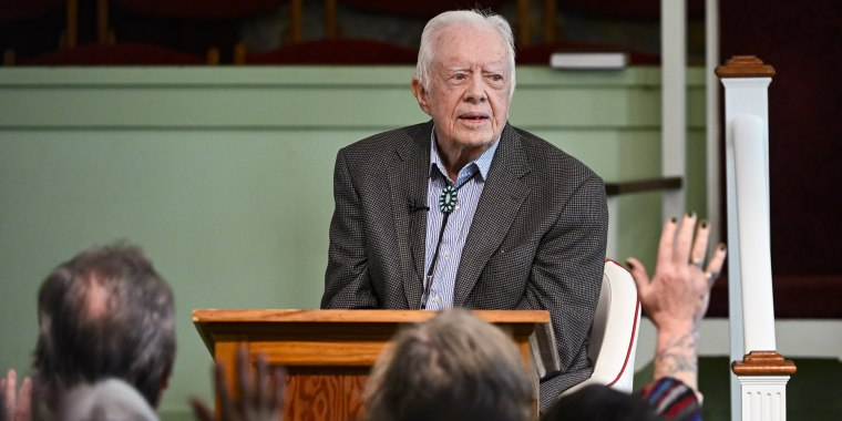 """I obviously prayed about it,"" former President Jimmy Carter said at a Sunday church service about his 2015 cancer diagnosis."