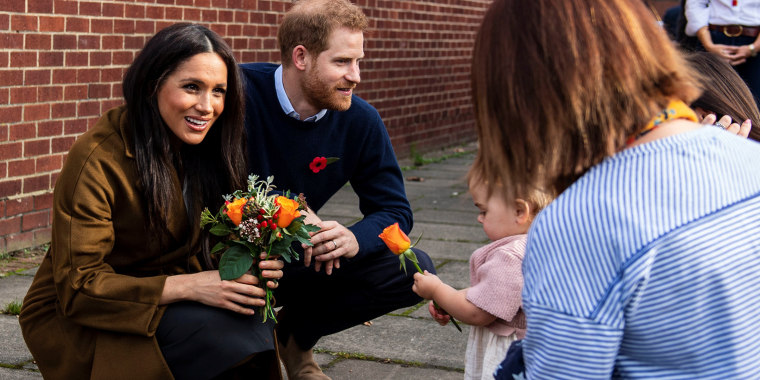 Image: Britain?EUR(TM)s Prince Harry and Meghan, Duchess of Sussex attend a coffee morning with families of deployed Army personnel, in Windsor