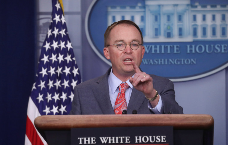 Image: AActing White House Chief of Staff Mick Mulvaney takes questions during a news briefing at the White House