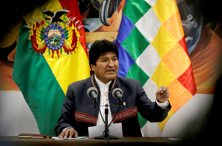 Image: Evo Morales speaks during a news conference at the presidential palace in La Paz, Bolivia, on Oct. 24, 2019.
