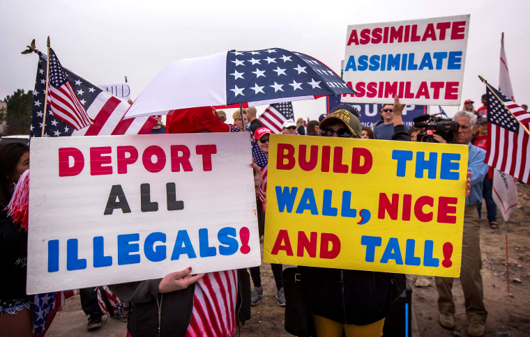 Image: Supporters of President Donald Trump rally before his visit to tour border wall prototypes in San Diego, Calif., on March 13, 2018.