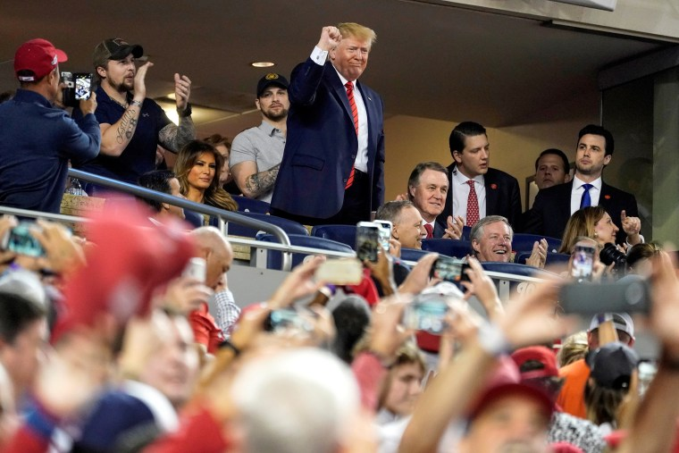 Image: U.S. President Donald Trump recognizes U.S. military personnel as the Washington Nationals and Houston Astros play in Game 5 of the World Series in Washington.