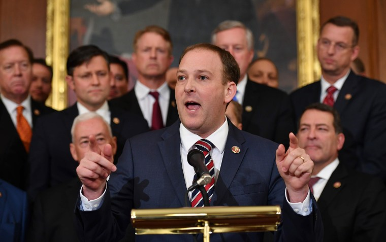 Image: Rep. Lee Zeldin of New York speaks during a press conference on the impeachment process at the Capitol.