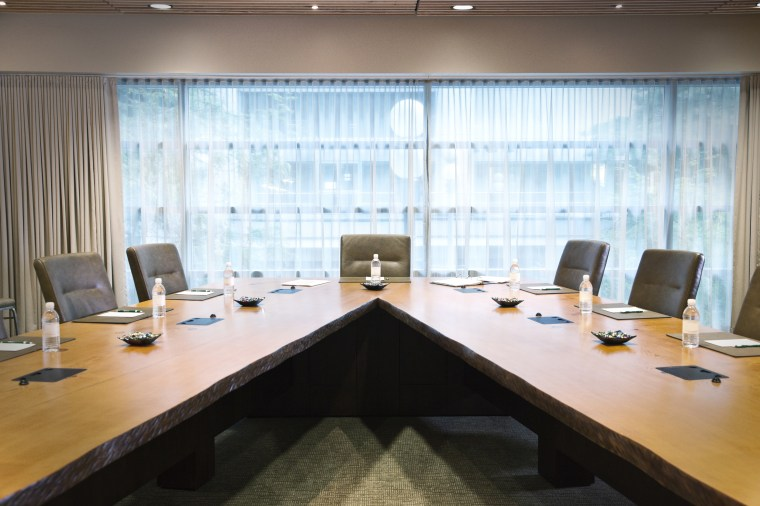A unique conference table set up for a meeting.