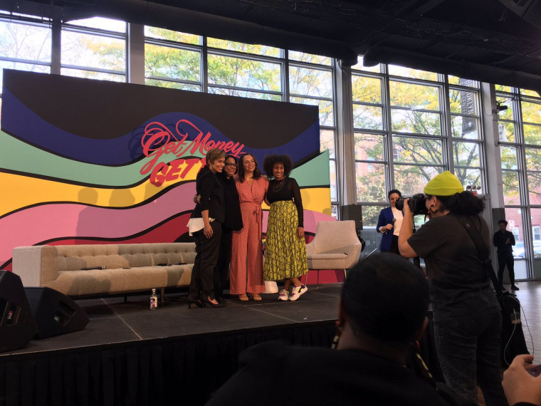 From left to right: Workplace culture strategist Daisy Auger-Dominguez, NBCUniversal's executive director of Diversity and Inclusion Mini Timmaraju, The Riveter CEO Amy Nelson and  founder of the Oakland diversity organization Change Cadet Dr. Akilah Cadet at the Ladies Get Paid event in Brooklyn on Saturday.