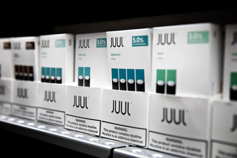 Image: Menthol and mint pods for Juul for sale at an Illinois store in 2019.