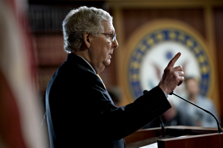 Image: Senate Majority Leader Mitch McConnell speaks at a news conference at the Capitol on June 27, 2019.