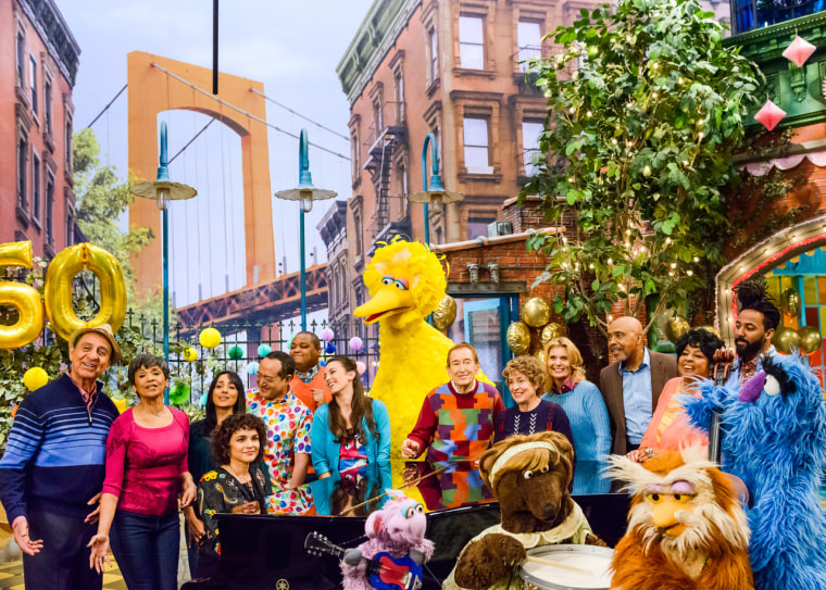 Sesame Street past and present cast members celebrate the show's 50th season.