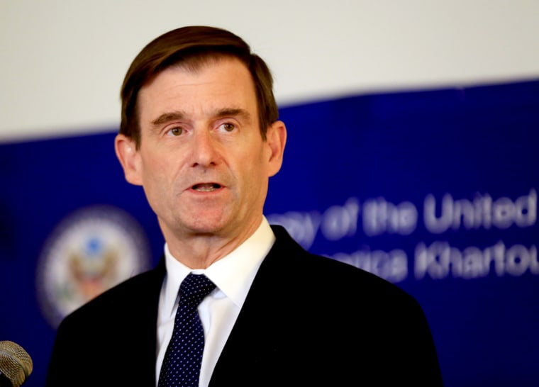 Image: Under Secretary for Political Affairs David Hale speaks at a news conference at the U.S. Embassy in Khartoum, Sudan, on Aug. 7, 2019.