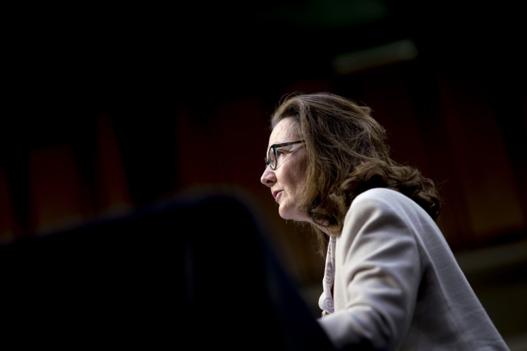 Image: CIA Director Gina Haspel speaks during a Senate Intelligence Committee hearing on May 9, 2018.