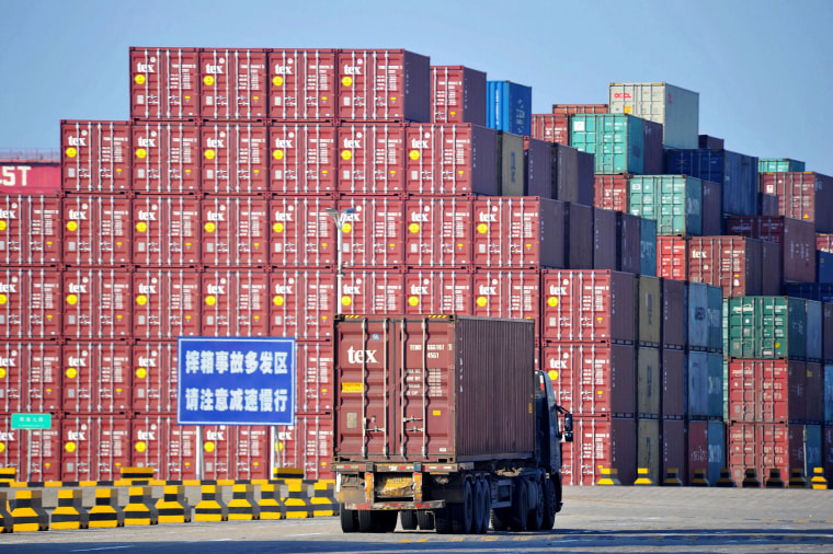 Image: Containers at the Qingdao Port Foreign Trade Container Terminal in Qingdao, in China's eastern Shandong province.