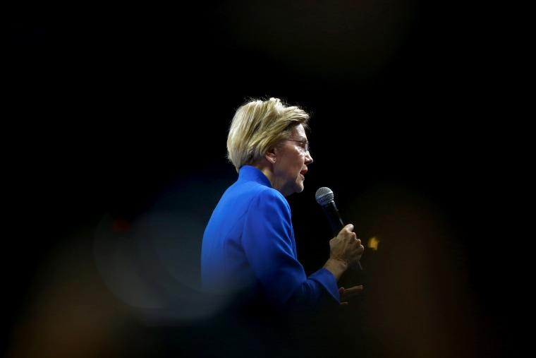 Image: Sen. Elizabeth Warren speaks at a fundraising dinner in Des Moines, Iowa, on Nov. 1, 2019.