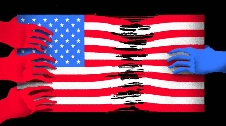 Illustration of red hands representing Republicans pulling and ripping at an American flag while a single blue hand representing Democrats pulls from the other side.