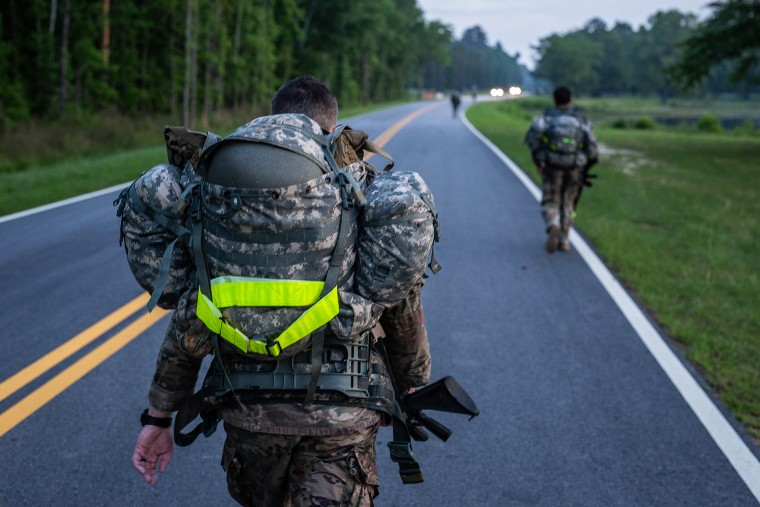 Soldiers take part in a 12-mile march in Fort Benning, Ga., wearing the sensors to measure their core temperatures and heart rates, the data which will be used as part of a larger study to prevent heat casualties.