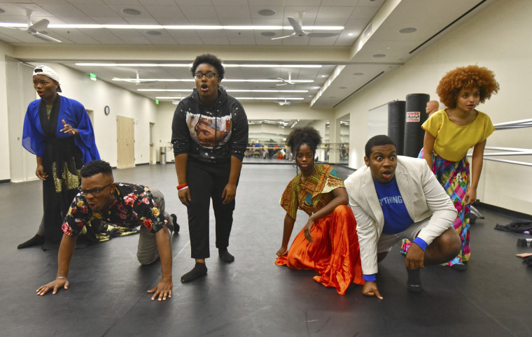 Image: Students from the University of Georgia and Morehouse and Spelman colleges perform during their rehearsal about the state's history of convict labor