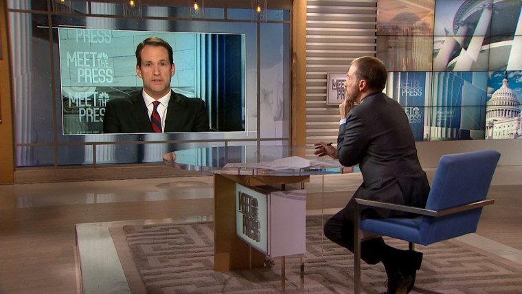 "Image: Rep. Jim Himes, D-CT, speaks to Chuck Todd on ""Meet the Press"" on Nov. 10, 2019."