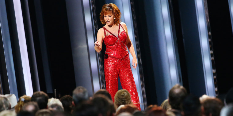 "Reba McEntire performing her signature song ""Fancy"" at the 2019 CMA Awards."
