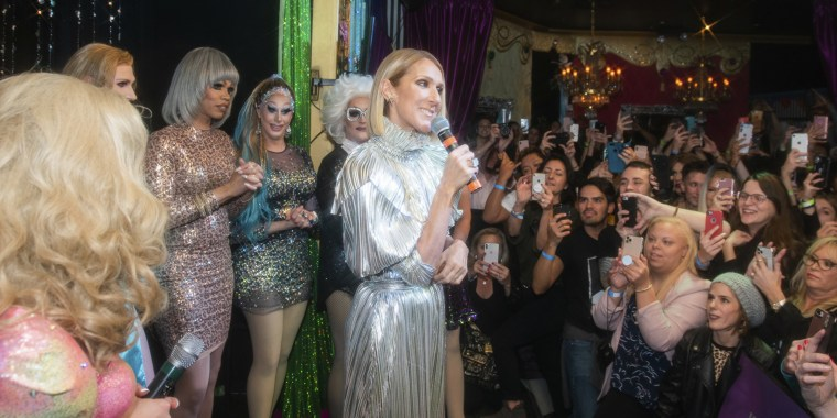 "Celine Dion made a surprise visit to a drag bar in New York City on Thursday night to celebrate the release of her new album, ""Courage."""