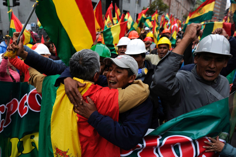 Image: People take to the streets of La Paz to celebrate the resignation of Bolivian President Evo Morales