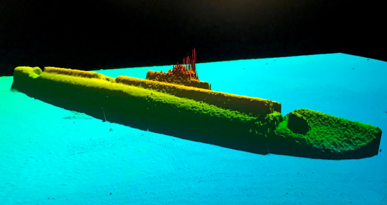 Image: A sonar image of the USS Grayback at a depth of 1,400 feet.