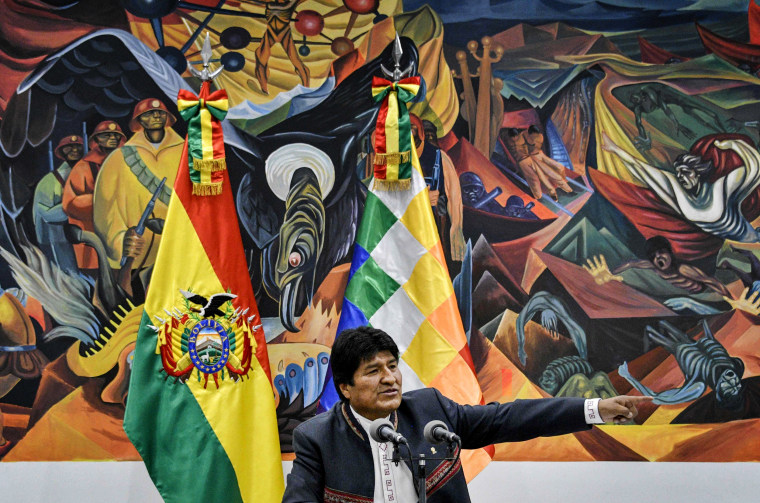 Image: Bolivian President Evo Morales speaks at a press conference in La Paz on Oct. 24, 2019.