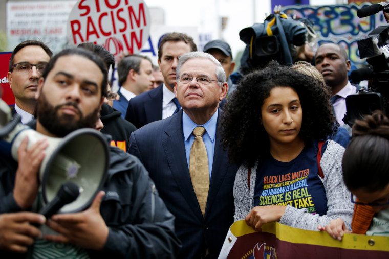Image: Sen. Bob Menendez, D-NJ, joins immigration activists protesting the Trump administration's decision to end DACA in Newark on Sept. 6, 2017.
