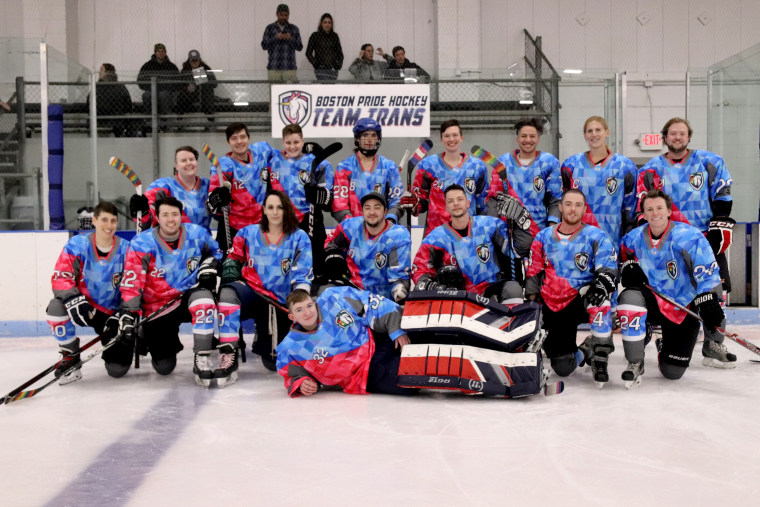 "Image: The Boston Pride Hockey League hosted a scrimmage with ""Team Trans"" - the first ever all-transgender hockey team."
