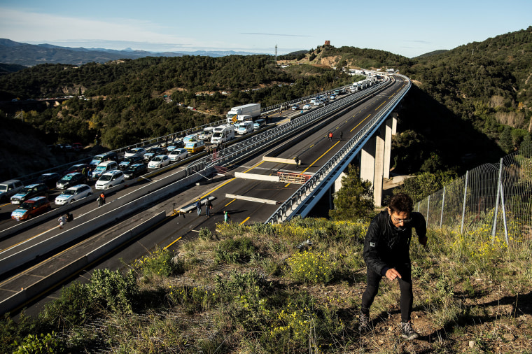 Image: Separatist Catalonian protesters block the border between France and Spain on Nov. 11, 2019 in La Jonqueera, Spain.