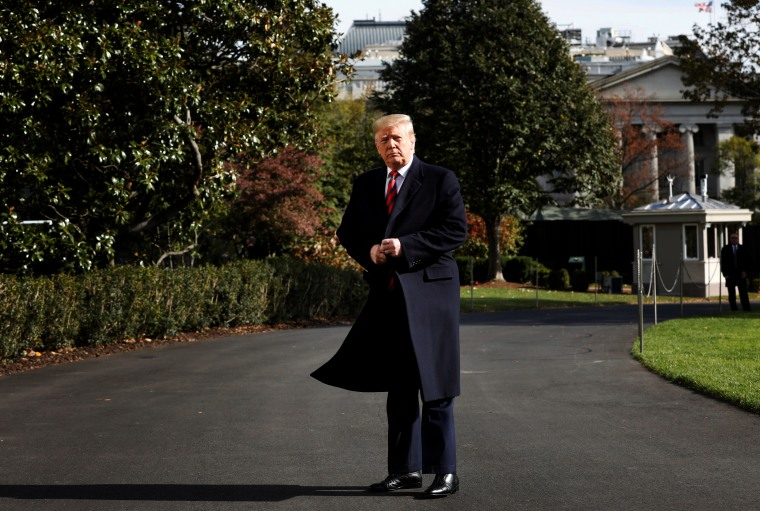 Image: President Donald Trump on the South Lawn of the White House on Nov. 9, 2019.