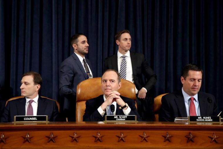 Image: Rep. Adam Schiff before impeachment hearings on Capitol Hill on Nov. 13, 2019.