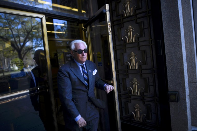 Image: Roger Stone leaves court during a lunch break in his trial in Washington on Nov. 13, 2019.