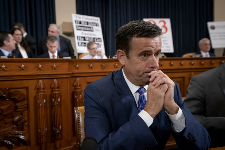 Image: Rep. John Ratcliffe, R-Texas, arrives for a House Intelligence Committee hearing on impeachment on Nov. 13, 2019.