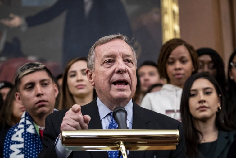 Image: Sen. Dick Durbin, D-IL, speaks at a press conference on Capitol Hill on Nov. 12, 2019.