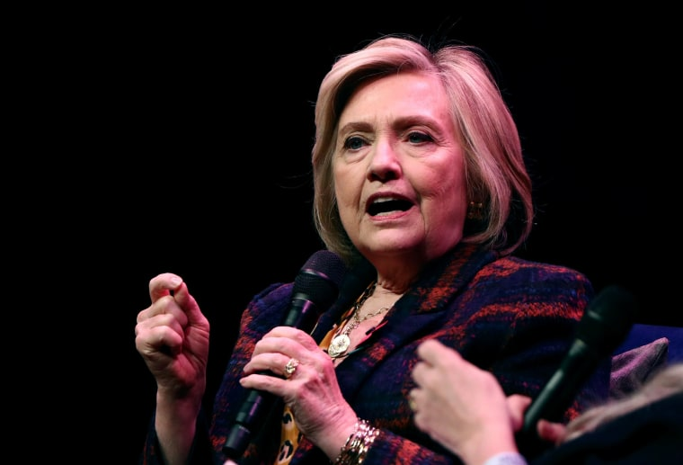 "Image: Former U.S. Secretary of State Hillary Clinton speaks during an event promoting ""The Book of Gutsy Women"" at the Southbank Centre in London"