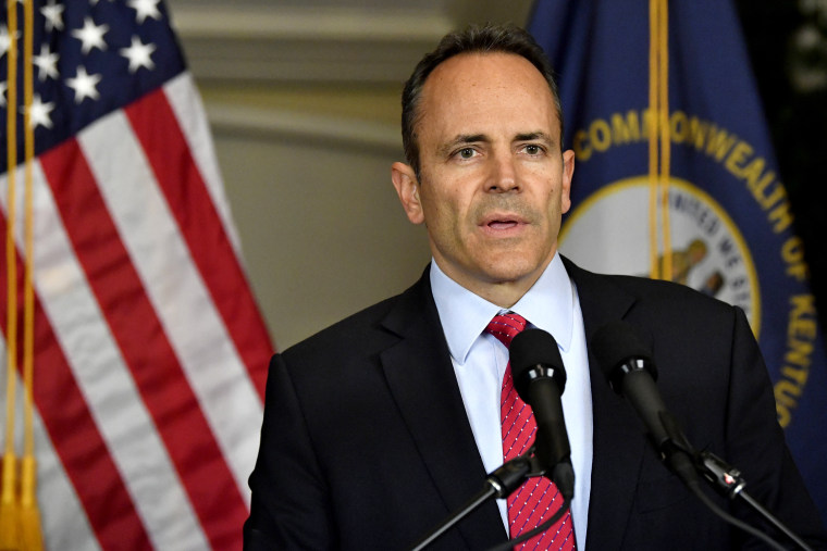 Image: Kentucky Gov. Matt Bevin announces his call to recanvass voting results in Frankfort on Nov. 6, 2019.
