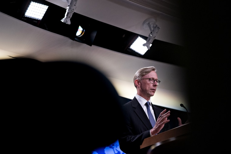 Image: Brian Hook, director of policy planning at the State Department, speaks during a briefing on Aug. 16, 2018.
