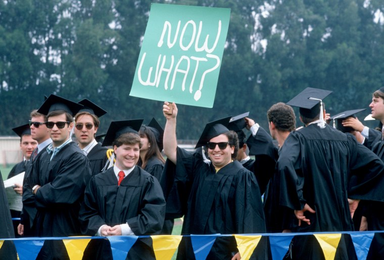 Image: UCLA students at their graduation ceremony ca. 1990.