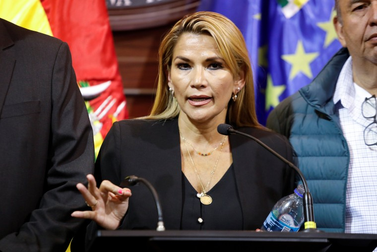 Image: Bolivian opposition leader and senator Jeanine Anez Chavez speaks during a news conference following Bolivia's former president Evo Morales' exit out of the country, in La Paz