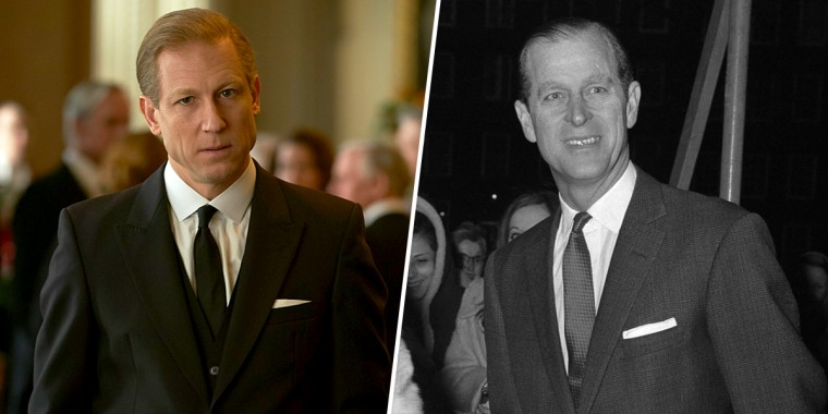 "Tobias Menzies as Prince Philip on ""The Crown,"" and Prince Philip in 1968."