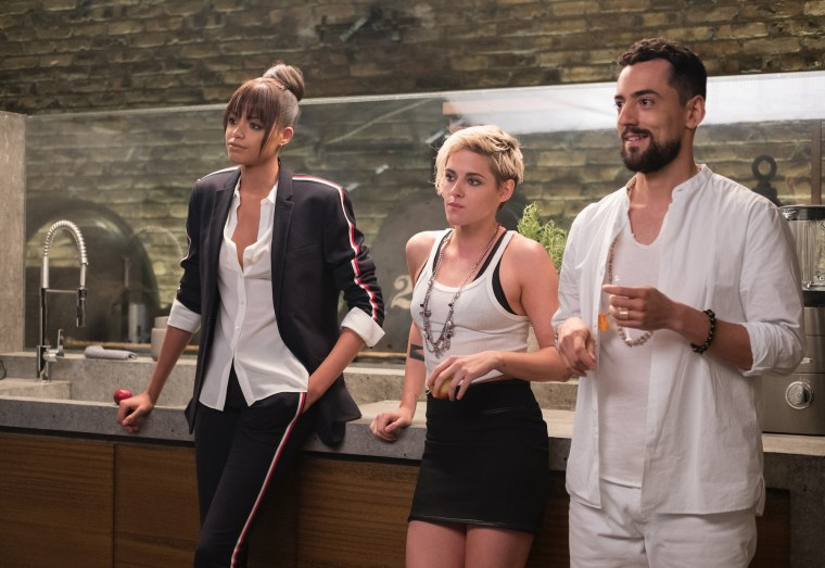 """Ella Balinska, Kristen Stewart and Luis Gerardo M?ndez in a scene """"Charlie's Angels."""""""