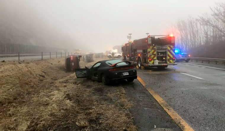 Image: Both sides of Interstate 64 in Augusta County, Va., were closed after a crash that left 25 people hospitalized.