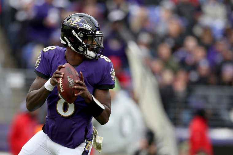 Image: Lamar Jackson #8 of the Baltimore Ravens throws a second half pass against the Houston Texans at M&T Bank Stadium on Nov. 17, 2019 in Baltimore, Maryland.