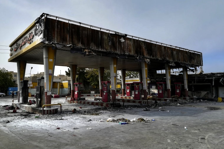 Image: Protesters burned a gas station in protest over raised fuel prices in Tehran on Nov. 17, 2019.