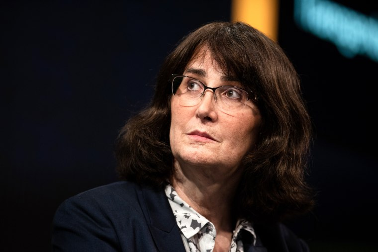 Image: Mara Keisling, founder and executive director of the National Center for Transgender Equality, listens during a conference in New York on May 8, 2018.