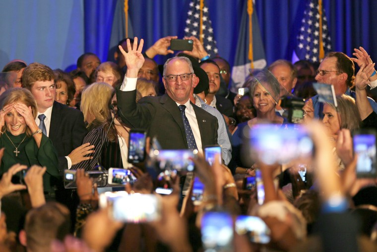 Louisiana Gov. John Bel Edwards speaks to a crowd at his election night watch party on Nov. 16, 2019 in Baton Rouge.